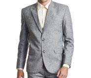 Wintage Linen Rich Grey 2 Piece Line Rich Suit Solid Men's Suit